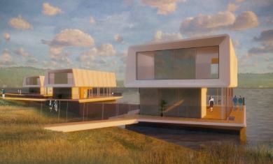 Concrete Valley en Grimshaw ontwikkelen innovatief systeem van modulaire waterwoningen