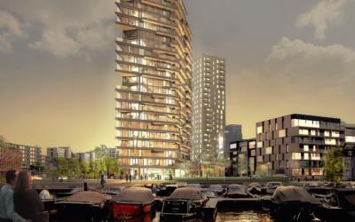 Glasvezelversterkte gevelelementen sieren hoogste houten woontoren van Nederland